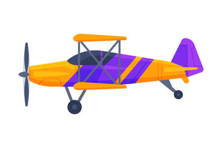 Retro Biplane with Propeller, Flying Aircraft Vehicle, Air Transport Vector Illustration