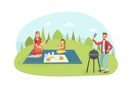 Husband Cooking Barbecue, Wife and Daughter Lying on a Plaid, Happy Family Having Picnic and Relaxing Outdoors Vector Illustration