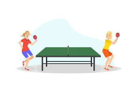 Two Girls Playing Table Tennis Game, People Doing Physical Activity and Sports Vector Illustration Vettoriali