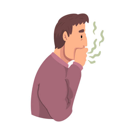 Young Man Breathing to His Hand to Check and Smell His Breath, Person Having Bad Breath Vector Illustration