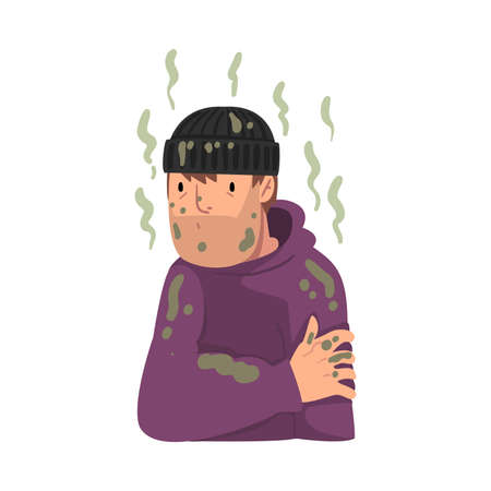 Homeless Man in Dirty Clothing, Bad Smelling Guy Vector Illustration Vettoriali