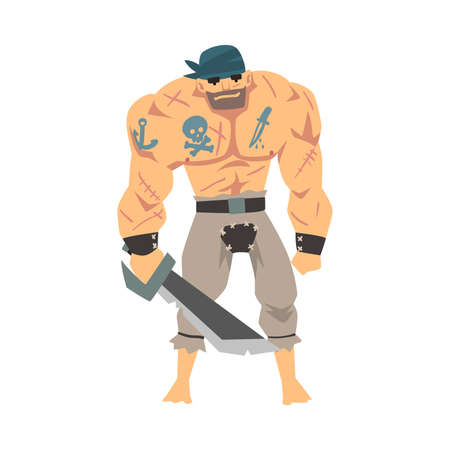 Brave Muscular Pirate with Saber, Male Buccaneer Cartoon Character Vector Illustration