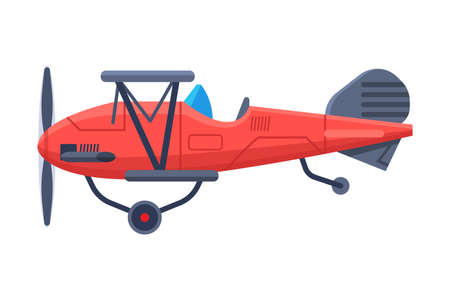 Retro Red Airplane with Propeller, Flying Aircraft Vehicle, Air Transport Vector Illustration
