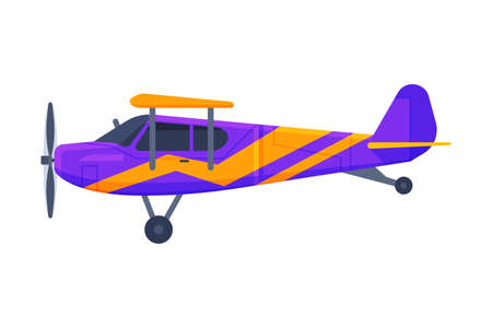 Retro Airplane with Propeller, Flying Aircraft Vehicle, Air Transport Vector Illustration