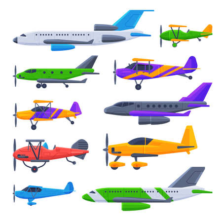 Modern and Retro Airplanes Collection, Flying Aircraft Vehicles, Air Transport Vector Illustration
