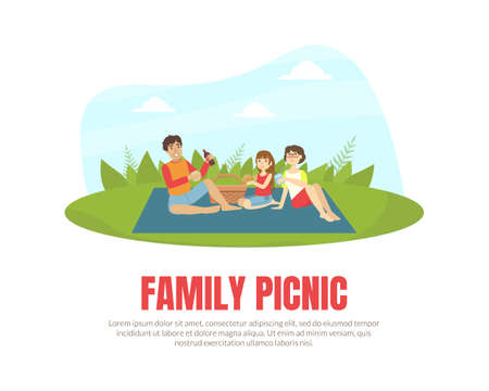 Family Picnic Banner Template, Happy Parents and their Daughter Relaxing and Eating Outdoors Vector Illustration