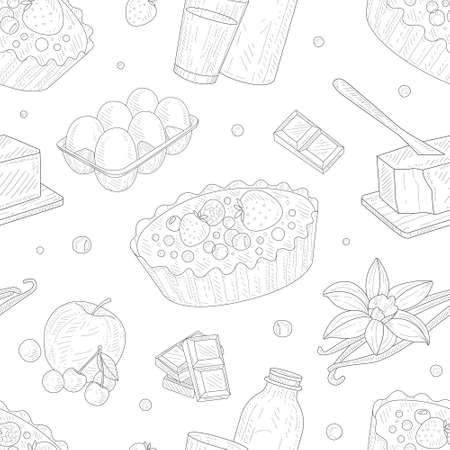 Baking Ingredients Seamless Pattern, Homemade Pie Pastry, Design Element Can Be Used for Fabric, Wallpaper, Packaging, Web Page, Wrapping Paper Hand Drawn Vector Illustration