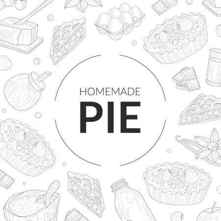 Homemade Pie Banner Template with Baking Ingredients Pattern Hand Drawn Vector Illustration