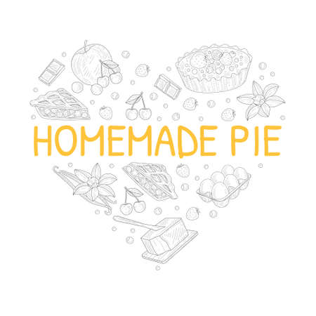 Homemade Fruit Pie Banner Template with Baking Ingredients of Heart Shape Hand Drawn Vector Illustration Ilustracja