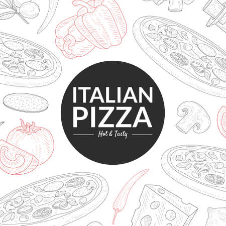 Italian Pizza, Hot and Tasty Banner Template, Traditional Italian Dish with Ingredients Pattern Hand Drawn Vector Illustration