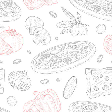 Italian Pizza, Seamless Pattern, Traditional Italian Dish Ingredients, Design Element Can Be Used for Fabric, Wallpaper, Packaging, Web Page, Wrapping Paper Vector Illustration Ilustracja