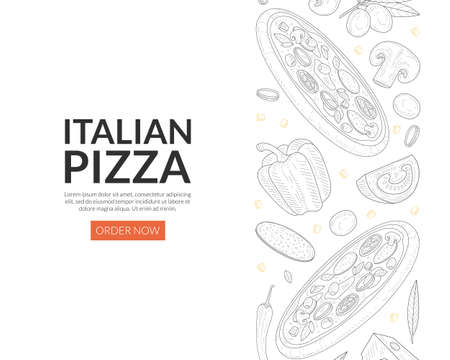 Italian Pizza Landing Page Template, Traditional Fresh Tasty Food Express Delivery Service Vector Illustration