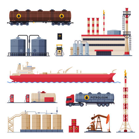 Oil Production, Processing and Transportation Set, Gasoline and Petroleum Industry Flat Style Vector Illustration