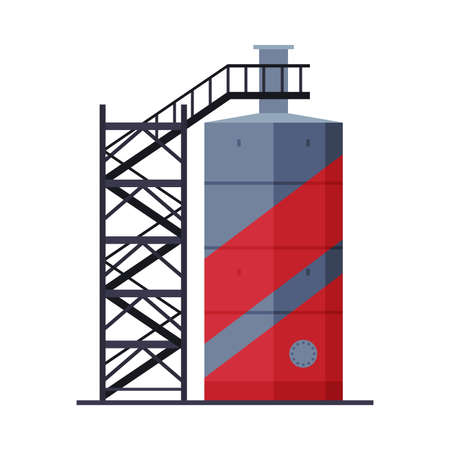 Crude Oil Tank with Ladder, Benzine, Fuel Cylinder, Storage Reservoir, Gasoline and Petroleum Production Industry Flat Style Vector Illustration on White Background Ilustração