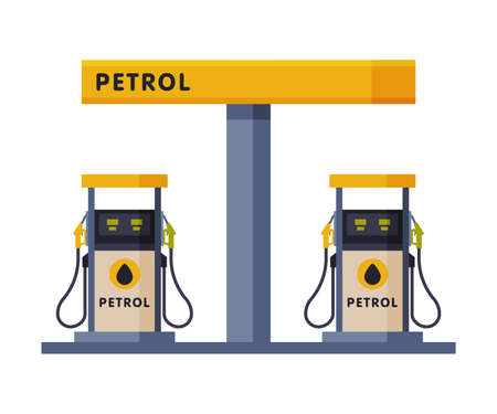 Gas Petroleum Refill Station, Gasoline and Petroleum Industry Flat Style Vector Illustration on White Background Ilustracja