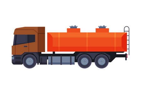 Oil Gasoline Tanker Truck, Gasoline and Petroleum Production Industry Flat Style Vector Illustration Isolated on White Background Vetores