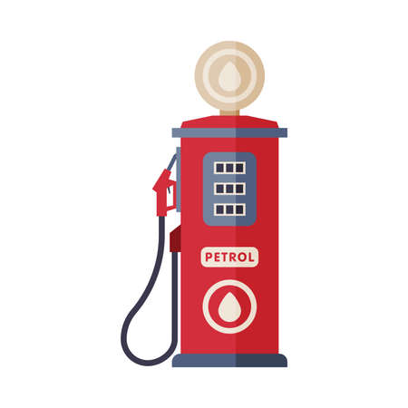 Red Gas Station Pump, Gasoline and Petroleum Industry Equipment Flat Style Vector Illustration on White Background