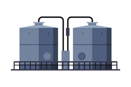 Oil Tank Cylinder, Storage Reservoir, Gasoline and Petroleum Production Industry Flat Style Vector Illustration on White Background