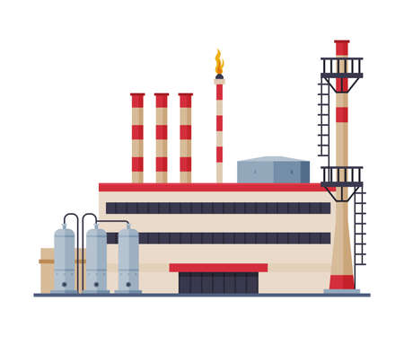 Oil Refinery Plant, Gasoline and Petroleum Production Industry Flat Style Vector Illustration on White Background Ilustracja