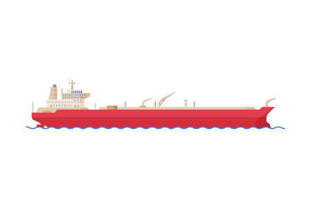 Oil Tanker Cargo Ship, Gasoline and Petroleum Production and Transportation Industry Flat Style Vector Illustration on White Background Ilustracja