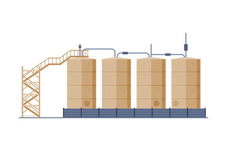 Oil Tanks with Ladder, Benzine, Fuel Cylinders, Storage Reservoirs, Gasoline and Petroleum Production Industry Flat Style Vector Illustration