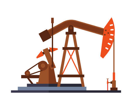 Oil Pump Jack, Gasoline and Petroleum Production Industry Flat Style Vector Illustration on White Background Ilustracja