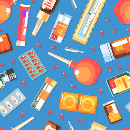 Medicines and Medical Supplies Seamless Pattern, Pharmacy and Medications Design Element Can Be Used for Fabric, Wallpaper, Packaging, Web Page Vector Illustration