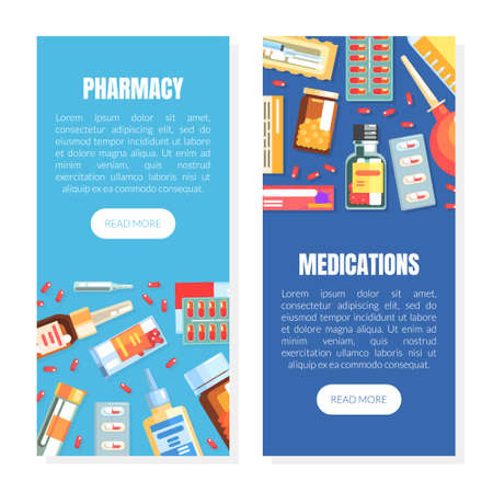 Pharmacy and Medications Landing Page Template, Medicine and Healthcare Web Page, Mobile App, Homepage Vector Illustration Ilustracja