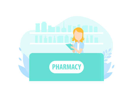 Female Pharmacist Behind Counter in Pharmacy, Doctor Holding Prescription Checking Medicine Vector Illustration