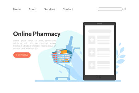 Online Pharmacy Landing Page, Drugstore, Pharmacy Web Page, Mobile App, Homepage Vector Illustration