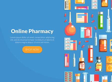 Online Pharmacy Landing Page Template, Drugstore, Pharmacy Online Web Page, Mobile App, Homepage Vector Illustration