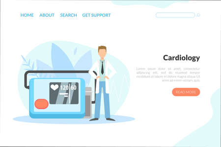 Cardiology Landing Page Template, Online Consultation, Medical Research Web Page, Mobile App, Homepage Vector Illustration