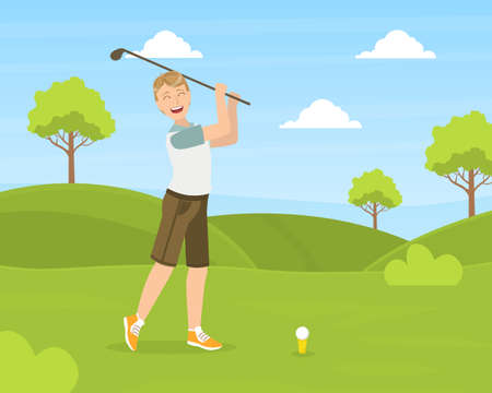 Male Golfer Training with Golf Club on Course, Young Man Doing Physical Activity Outdoors Vector Illustration