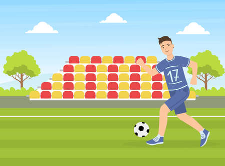 Teenage Boy Kicking a Soccer Ball, Guy Doing Physical Activity Outdoors Vector Illustration