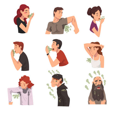 Bad Smelling People Collection, Men and Women Having Having Bad Breath and Personal Hygiene Problems Vector Illustration Ilustracja