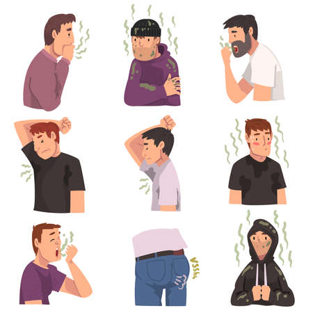 Bad Smelling People Collection, Male and Female Persons Having Having Bad Breath and Personal Hygiene Problems Vector Illustration Vettoriali