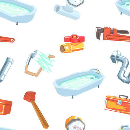 Plumbing Repair Service Equipment Seamless Pattern, Professional Plumber Tools, Design Element Can Be Used for Website, Wallpaper, Background Vector illustration Ilustracja