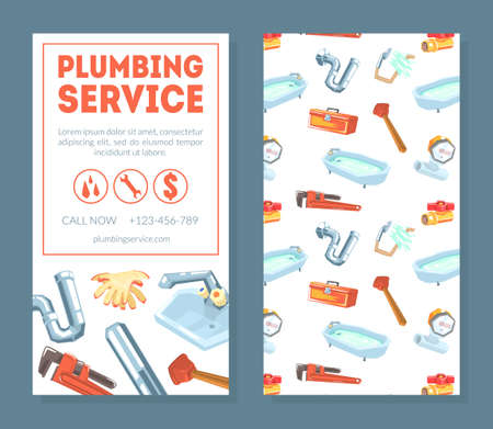 Plumbing Service Business Card Template, Professional Plumber or Handyman, Flyer, Poster or Banner Vector Illustration Ilustracja