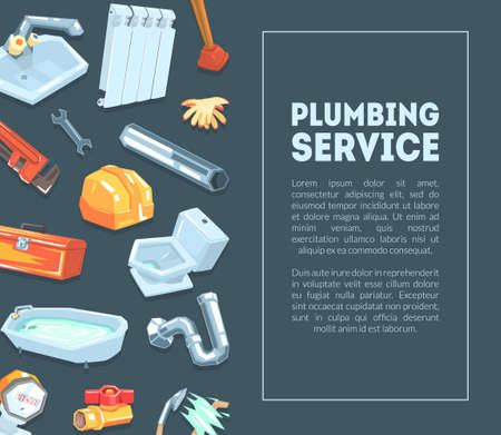 Plumbing Service Banner Template with Professional Equipment and Place for Text Vector Illustration