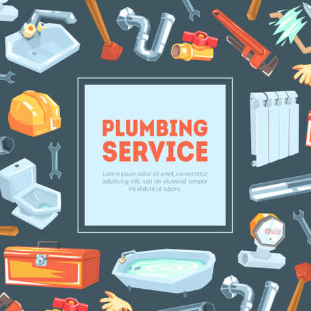 Plumbing Service Banner Template with Professional Plumber Equipment and Place for Text Vector Illustration