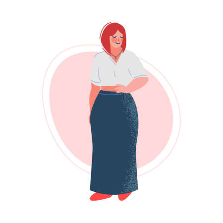 Attractive Plus Size Woman, Beautiful Curvy, Overweight Girl in Fashionable Clothes Vector Illustration