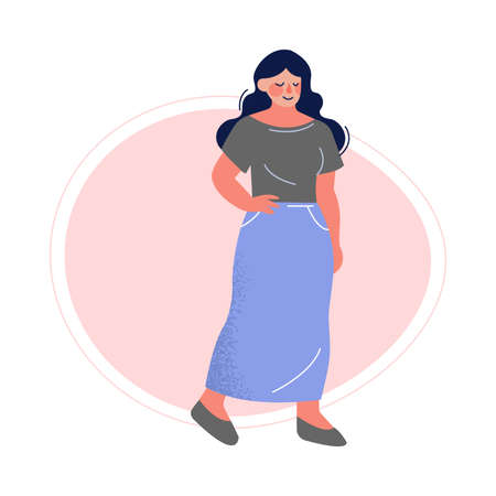 Attractive Plus Size Brunette Woman, Beautiful Curvy, Overweight Girl in Long Skirt and Blouse Vector Illustration Ilustracja