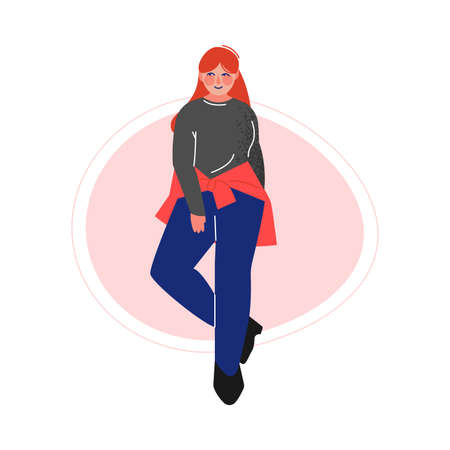 Cheerful Plus Size Red Haired Girl, Beautiful Curvy, Overweight Woman in Fashionable Clothes, Body Positive Concept Vector Illustration