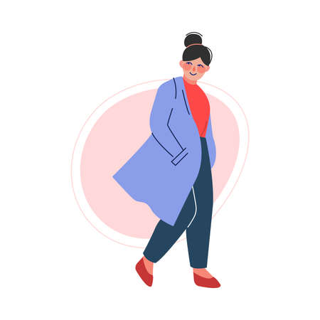 Cheerful Plus Size Brunette Girl, Attractive Smiling Curvy, Overweight Woman in Fashionable Clothes, Body Positive Concept Vector Illustration Ilustracja