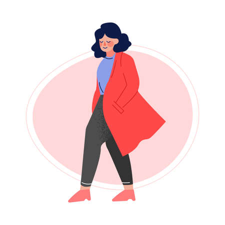 Attractive Plus Size Woman in Trench Coat, Pants and Blouse, Beautiful Curvy, Overweight Girl in Fashionable Clothes, Body Positive Concept Vector Illustration Ilustracja