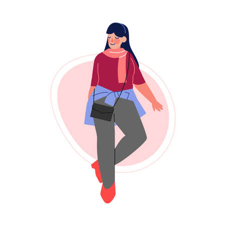 Smiling Brunette Plus Size Woman, Beautiful Curvy, Overweight Girl in Fashionable Clothes, Body Positive Concept Vector Illustration