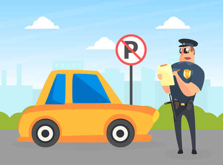 Police Officer Character Stand near Yellow Car Writing Fine, Male Traffic Inspector Safety Control Vector Illustration