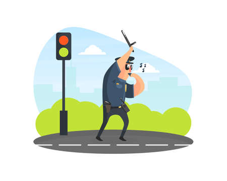 Police Officer Using Traffic Stick on Road, Male Traffic Inspector Safety Control Vector Illustration