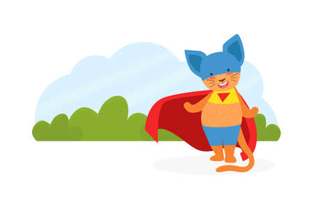 Cat Superhero Character in Mask and Red Cape Cartoon Vector Illustration