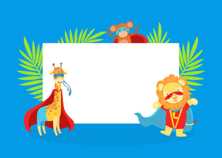 Cute Superhero Animals with Blank Banner, Giraffe, Monkey, Lion in Capes and Masks Standing Next to the Blank Signboard Cartoon Vector Illustration Ilustracja